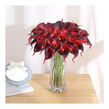 Luyue11pcs/lot Real Touch Lily Calla PU Artificial Flower Bouquets Home Wedding