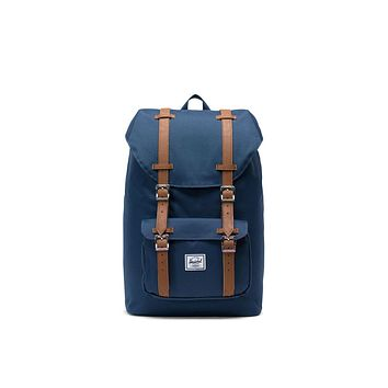 Herschel Supply Co. - Little America Navy Tan Synthetic Leather Mid Volume Backpack