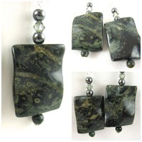 Deep Green Jasper Handmade Earrings Hematite Swarovksi Crystal so Rich