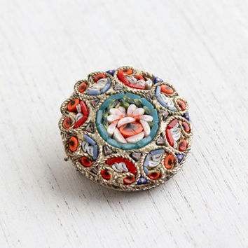 Vintage Micro Mosaic Flower Brooch Pin - 1940s Round Rose Floral Costume Jewelry / Italian Glass Art