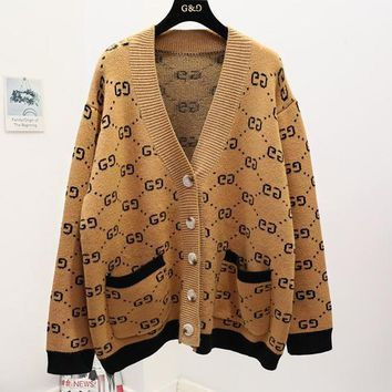 GUCCI Autumn Winter Fashionable Women Retro Casual V Collar Knit Cardigan Jacket Coat Khaki