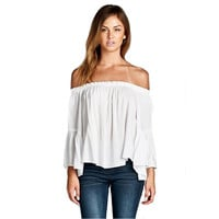 White Off Shoulder Trumpet Sleeve T-Shirt