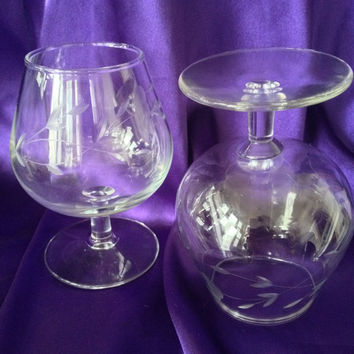 Crystal Brandy Snifters, Princess House Heritage Pattern, Set of Two Vintage Barware