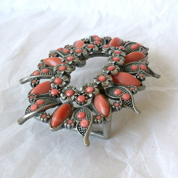 Vintage Buckle Coral colored Accents Antiqued Pewter tone