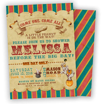 Circus Baby Shower Invitation - Vintage Circus Baby Shower - Elephant Circus - Boy Baby Shower Invite - Girl - Twins - Neutral - Old Fair