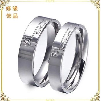 "Stainless Steel "" Endless Love "" Love Promise Ring Wedding Band Silver Gift Nice"