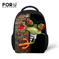 FORUDESIGNS Small 12'' Baby Boys School Bag Frog Alligator Children Schoolbag for Girls Cute Kids Kindergarten Book Bags Mochila