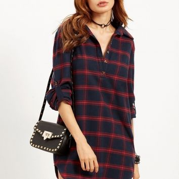 Turn Down Collar Long Sleeve Plaid Dresses - NOVASHE.com