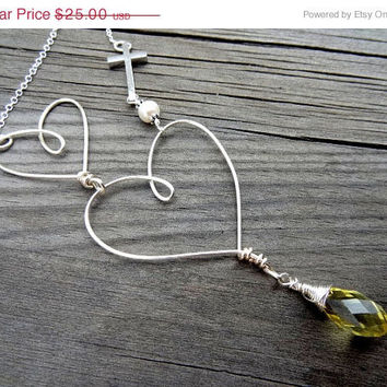 ON SALE Double Heart Love Cross Wire Wrapped Crystal Heart Necklace with Pearl Christian Religious Jewelry Easter
