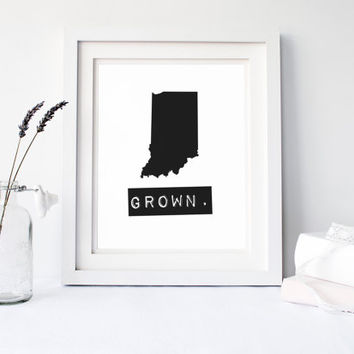 Indiana Grown Home State Print, Custom map, Personalized map, Printable, Digital Download, hometown, typewriter, stamp, IN state typography