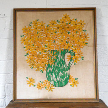Framed Needlepoint Wall Art Crewel Wall Hanging Yellow Kitchen Decor Embroidered Wall Art Crewel Embroidery Flower Wall Art 60s Decor
