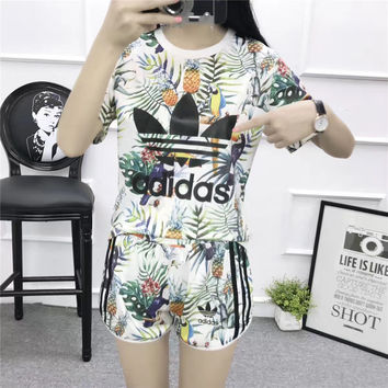"""Adidas"" Women Casual Multicolor Pineapple Toucan Print Short Sleeve Set Two-Piece Sportswear"