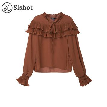 Women Shirts Summer Blue Plain Ruffled Collar Slim Black Chiffon Lantern Sleeve Lace Up Pleated Orange Casual Blouse