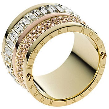 Michael Kors Goldtone Pave & Stone Barrel Ring | Dillards.com