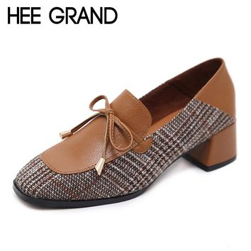 HEE GRAND Women's British Style Lattice Vamp Retro Loafers/Shoes
