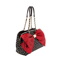 BOW-LESQUE SEQUIN SATCHEL: Betsey Johnson