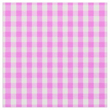 Pink White Gingham Check Pattern Fabric