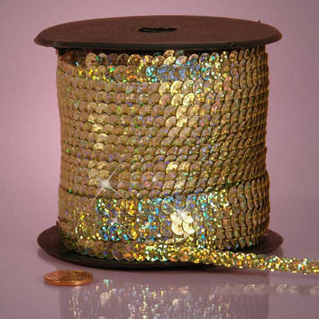Light Gold Holographic Faceted Extra Sparkle String 6mm x 80 yards Sequins