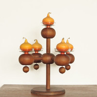 Aarikka Finland Solid Carved Wood Candelabra