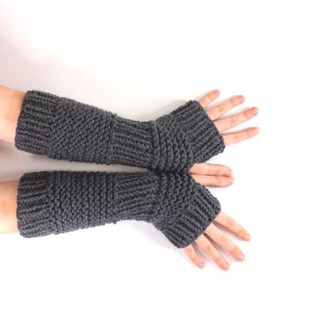 SALE Knitted Arm Warmers /CHARCOAL/, Fingerless Gloves, Knit Mittens, Wrist Warmers, Gift Idea