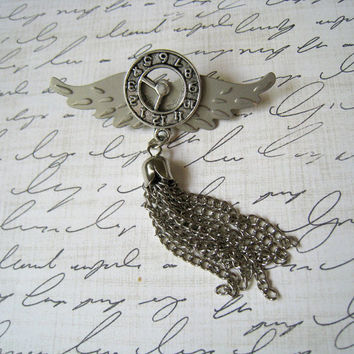 The Airship Captain Pin unisex steampunk dieselpunk silver brooch chatelaine