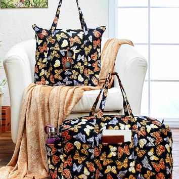 Butterfly Print Quilted Oversized Luggage Tote Duffel Cotton Fully Lined