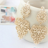 Hot 1pair Retro Vintage Alloy Women Silver Golden Long Bohemian Pierced Earrings = 1928390084