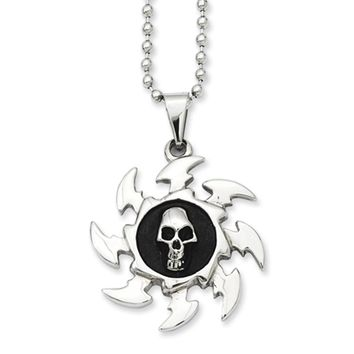 Stainless Steel Antiqued Saw Blade and Skull Necklace 24 Inch