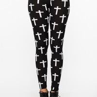 Cross Printed Leggings