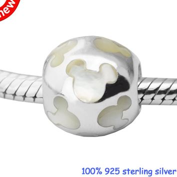 DIY Beads for Jewelry Making Sterling-Silver-Jewelry Pearlescent Mickey Silhouettes Bead Charms Silver 925 Berloque Perles