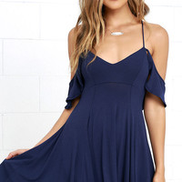 Lifetime of Love Navy Blue Backless Skater Dress