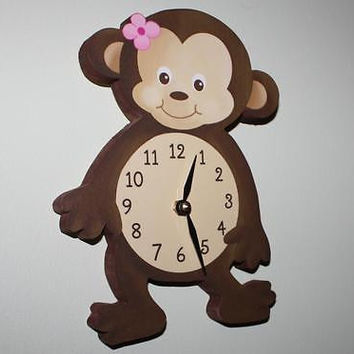 Kids Wall Clock Girl Monkey Bedroom Nursery Wall Clock WC0077