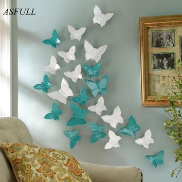 Simple Modern Three Dimensional Mural Wall Butterfly Decoration Home Free Shipping Wall Sticher Home Decoration Accessories