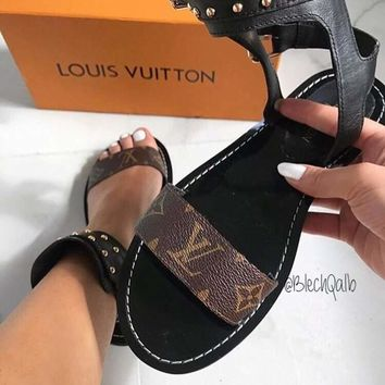 Louis Vuitton Lv One Word With Flat Bottom High Boots Black White Brown 3 Color-1