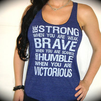 "American Apparel ""STRONG BRAVE Humble VICTORIOUS"" Tri-Blend Racerback Tank In Indigo"