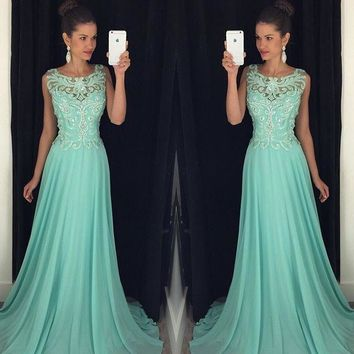 ZGS514 Sexy Beaded Long Prom Dresses 2017 Chiffon exquisite appliques A-Line Prom Gown Formal Party