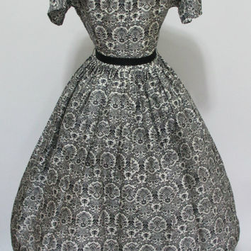 "BLACK FRIDAY SALE McKettrick 1950's Vintage Black and White Silk Damask Print Cocktail Dress 26"" Waist"