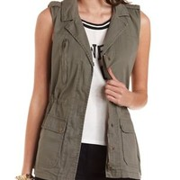 Cotton Military Vest by Charlotte Russe