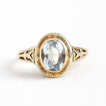 Vintage Aquamarine Ring - 1.42 CT 14k Rosy Yellow Gold Genuine Icy Light Blue March Birthstone - Size 5 Art Deco 1930s Filigree Fine Jewelry