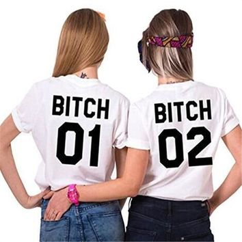 Women Ladies Sexy Best Friends T Shirt Sisters Tumblr Tee Tops Casual BITCH 01 02 Print White cotton Casual T-shirt Women Tops