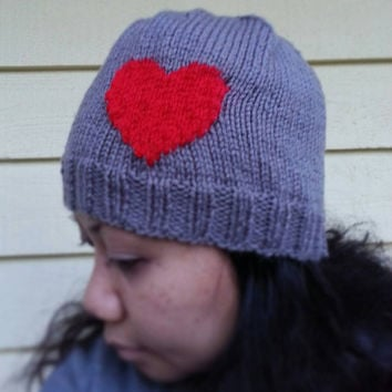 Hand Knit Heart Beanie in Gray and Red or Request a Custom Order in Another Color Combination