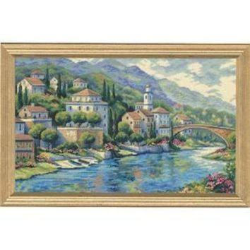 Top Quality Popular Counted Cross Stitch Kit Panorama Italian Vista Little Town House Home Scenic DIM 35246