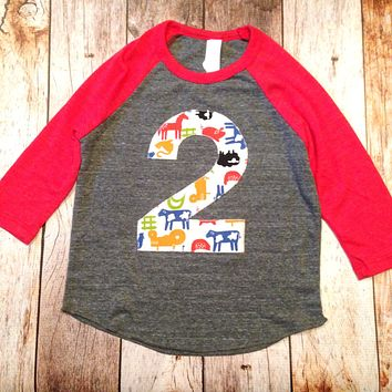Farm barn birthday shirt Eco Heathered red grey Boys 2 old Birthday cow print hide bandana horse animal tractor two 2nd 1 2 3 4 5 6 7