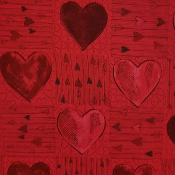 HEARTS 2 YOU on Rich Red Pencil Drawing Lines Shadows Black Gray Print Quilt Quality Cotton Excellent Fabric for Creative Genius Projects