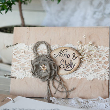 Personalized rustic wedding guest book / Wood Wedding Guest Book with lace and handmade flower / names and wedding date F1