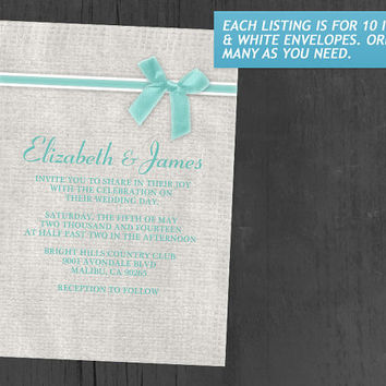 Aqua Rustic Burlap Wedding Invitations | Invites | Invitation Cards