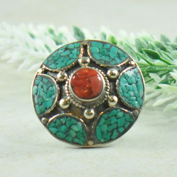 Bolormaa Turquoise and Coral Mosaic Tibetan Silver Ring