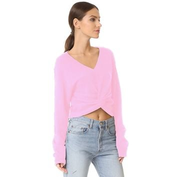 Stylish cross-fold exposed navel V neck solid color sweater