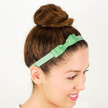 Mint Baby Headband Womens Hair Accessories Girls Headband Elastic Bow Mint Bow Headband Mint Womens Headband Baby Hair Bows Blue Green Bow