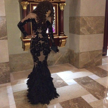 2017 New Style Black/Champagne Lace Mermaid Prom Dresses Custome Made Elegant Scoop Neck Long Sleeve Beading Tiered Evening Gown